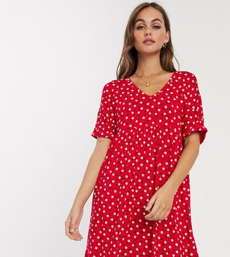 Wednesday's Girl mini smock dress in daisy print-Red