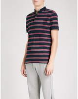 The Kooples Band-collar Striped Cotton-piqué Polo Shirt
