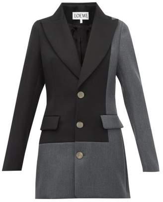 Loewe Single-breasted Peak-lapel Wool Jacket - Womens - Grey Multi