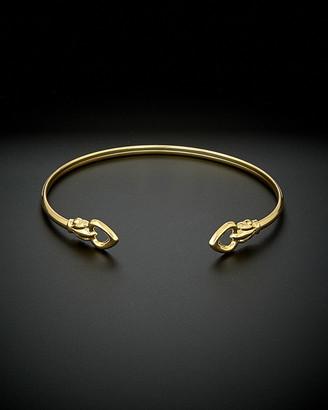 Italian Gold 14K Double Heart Open Cuff