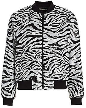 Alice + Olivia Women's Lonnie Zebra Sequin Bomber Jacket