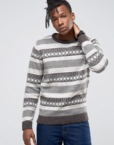 Selected Crew Neck Knit in Fairisle Detail