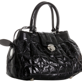 black quilted patent leather 'Anna' satchel