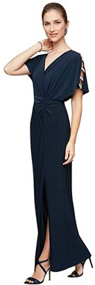 Alex Evenings Long Knot Front Dress (Navy) Women's Dress