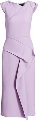 Roland Mouret Stellar Draped Wool Crepe Sheath Dress