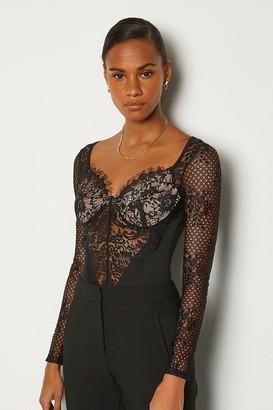 Karen Millen Long Sleeve Lace Detail Body