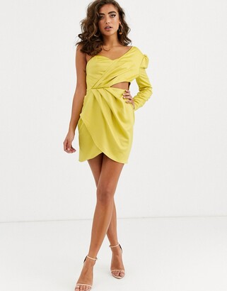 Public Desire one shoulder dress with wrap front and cut out in satin