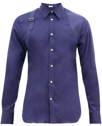 Alexander McQueen Harness Panelled Cotton-blend Shirt - Indigo