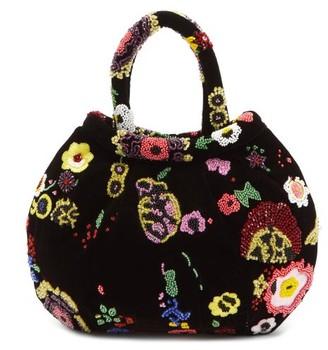 Shrimps Louisa Floral-beaded Velvet Handbag - Black Multi