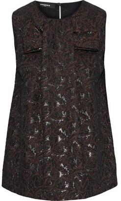 Rochas Bow-embellished Metallic Brocade Top