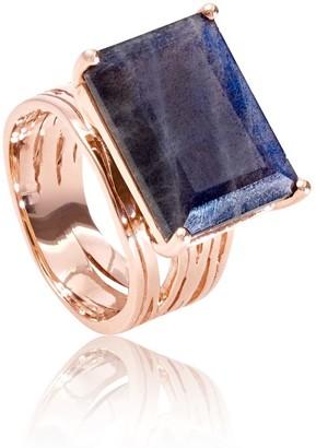 Neola Pietra Rose Gold Ring With Labradorite