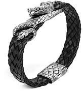 John Hardy Men's Naga Sterling Silver Dragon Woven Black Leather Bracelet