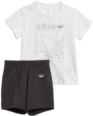 adidas Badge Shorts andTee Set - White/Black
