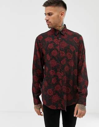 Bershka shirt in black with rose print in relaxed fit
