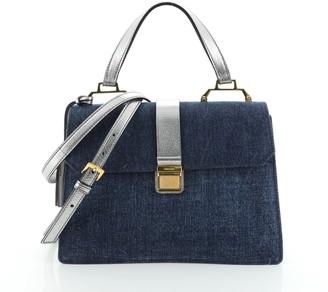 Miu Miu Madras Convertible Compartment Top Handle Bag Denim with Leather Medium