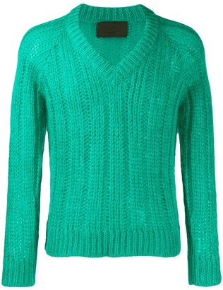 Prada chunky V-neck knit top
