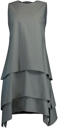 Brunello Cucinelli Eucalyptus Tiered Crewneck Mini Dress