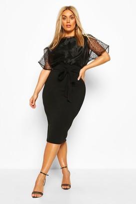 boohoo Plus Heart Organza Blouson Midi Dress