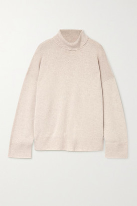 Le Kasha Suede Oversized Cashmere Turtleneck Sweater - Beige