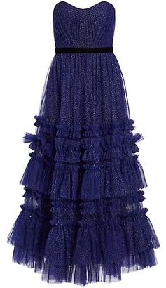 Marchesa Notte Glitter Tulle Strapless Tea-Length Gown