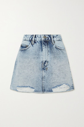 Ksubi Distressed Acid-wash Denim Mini Skirt - Light denim