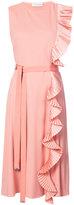 Altuzarra pleated ruffle midi dress - women - Polyester/Spandex/Elastane/Viscose - 36