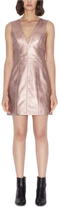 Armani Exchange Metallic Faux Leather Sleeveless Dress