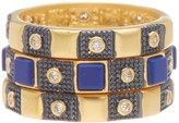 Freida Rothman 14K Gold Plated Sterling Silver CZ Bricked Lapis Ring - Set of 3 - Size 6