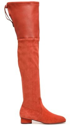 Stuart Weitzman Leather-paneled Suede Over-the Knee Boots