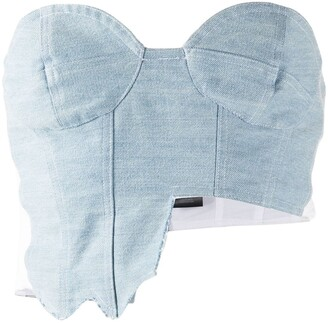 Barbara Bologna Cropped Ripped Denim Top