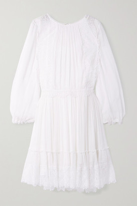 Chloé Lace-trimmed Silk-crepon Dress - White