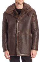 Vince Long Sleeve Leather & Shearling Coat