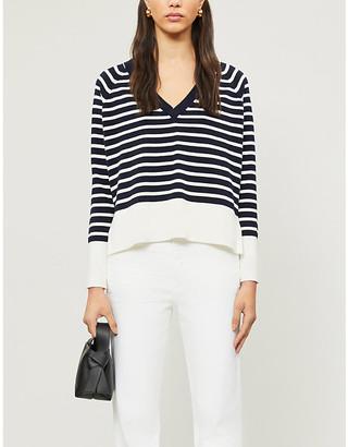 The White Company Reverse Breton V-neck cotton-blend jumper
