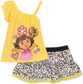 Children's Apparel Network Yellow Dora Asymmetrical Tank & Cheetah Skirt - Infant & Toddler