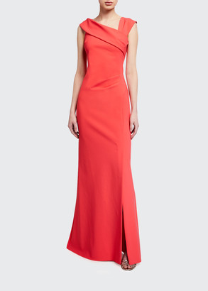 Rickie Freeman For Teri Jon Asymmetric-Neckline Scuba Column Gown