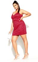 City Chic Sassy Lace Dress - crimson