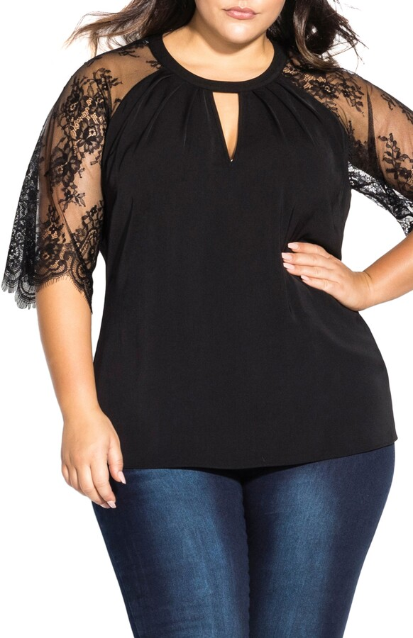 City Chic Lace Sleeve Top
