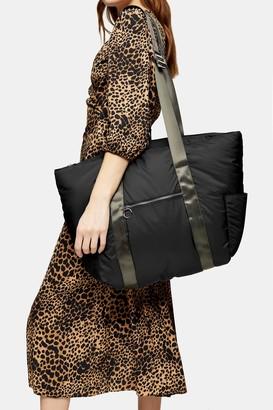 Topshop Womens Nylon Black Pad Weekender Bag - Black