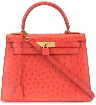 Hermes Pre-Owned 1996 Kelly 28 Ostrich Red 2way