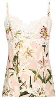 Dolce & Gabbana Lily-print Lace-trim Silk-charmeuse Cami Top - Womens - Pink Multi