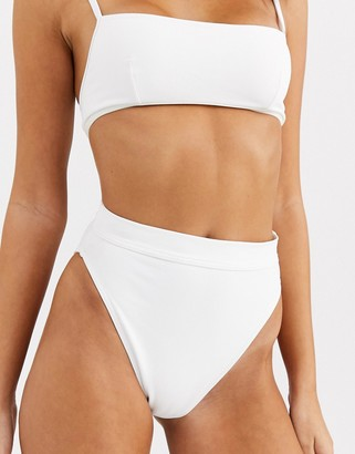 ASOS DESIGN skinny bind high leg high waist bikini bottom in white rib