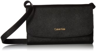 Calvin Klein womens Logan Saffiano Leather Crossbody