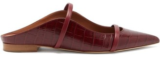 Malone Souliers Maureen Backless Crocodile-effect Leather Flats - Burgundy