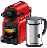 Nespresso Inissia Coffee Machine with Aeroccino, Red