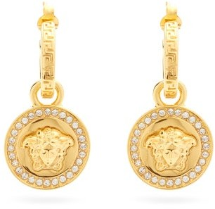 Versace Medusa Crystal-embellished Drop Earrings - Gold
