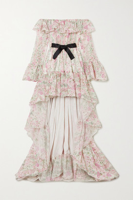 Giambattista Valli Asymmetric Bow-embellished Ruffled Floral-print Silk-chiffon Dress - Ivory