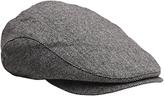 Gant Herringbone Driver Flat Cap, Charcoal Melange