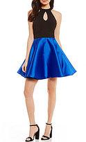Jodi Kristopher Keyhole Neck Color Block Fit-And-Flare Dress