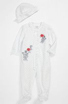 Little Me 'Rose' Footie & Hat (Baby)