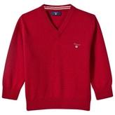 Gant Red Wool V-Neck Knit Jumper